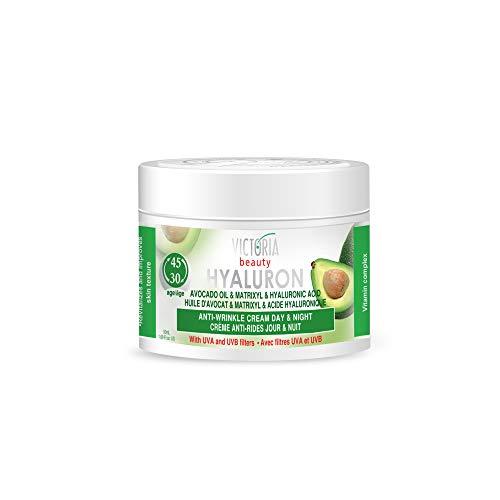 Victoria Beauty - Anti Aging Hyaluron Creme gegen Falten und Augenringe, straffende Gesichtscreme...