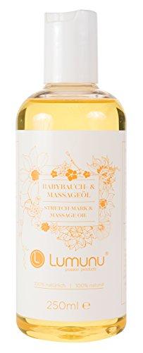 Babybauch & Damm-Massageöl (250ml), 100% natürliches Körperöl mit Q10, von Venize