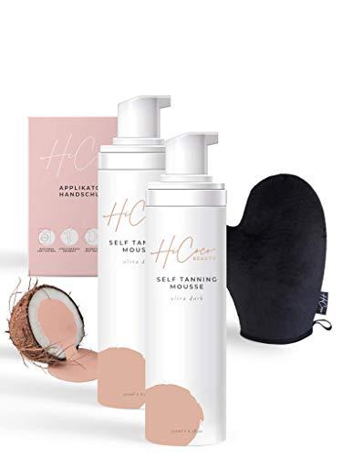 HiCoco Selbstbräuner | Bräunungscreme für Gesicht und Körper inkl. Handschuh