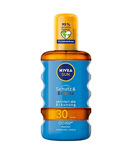 NIVEA SUN Sonnenöl-Spray, Lichtschutzfaktor 30, Sprühflasche, Schutz und Bräune, 200 ml