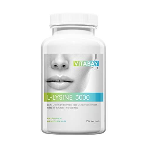 Vitabay L-Lysine 3000 • 100 vegane Kapseln • Zum Diätmanagement bei wiederkehrenden Herpes...