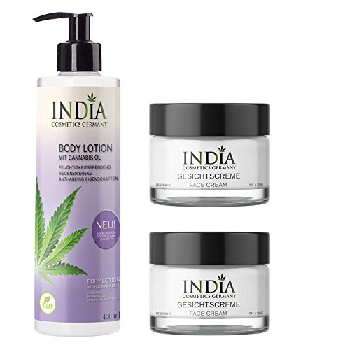 Face & Body-Set von India Cosmetics Germany, mit Bio Cannabis Öl in veganer Premiumqualität....