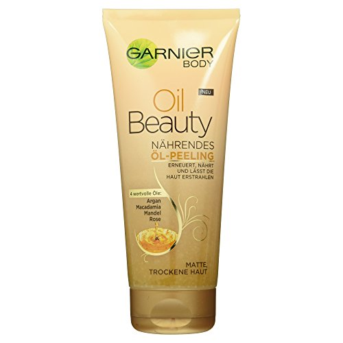 Garnier Oil Beauty Nährendes Öl Peeling / Körperpeeling mit 4 wertvollen Ölen: Argan, Macadamia,...