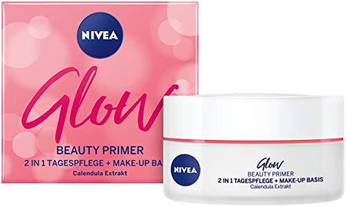 NIVEA Glow Beauty Primer 2 IN 1 Tagespflege im 1er Pack, feuchtigkeitsspendende Gesichtscreme mit...