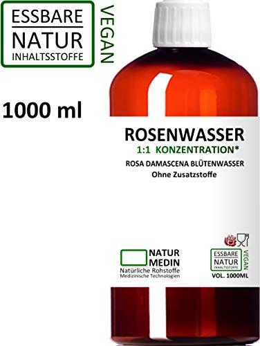 ROSENWASSER 1000-ml Gesichtswasser, 100% naturrein, 1:1 Konzentration, Rosa damascena...