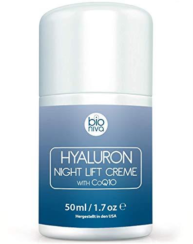 Hyaluronsäure Nachtcreme für das Gesicht. Bio Anti-Aging & Anti Falten Nachtpflege...