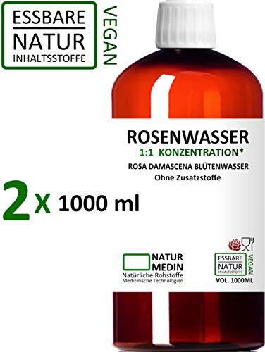 ROSENWASSER 2x 1000-ml Gesichtswasser, 100% naturrein, 1:1 Konzentration, Rosa damascena...
