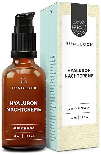 Junglück Nachtcreme mit Hyaluron & Arganöl auf bio Aloe Vera Basis | 50 ml im Braunglas | vegane...