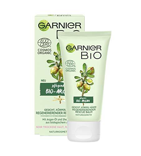 Garnier Bio Regenerierender Argan Rescue Balm, Naturkosmetik, Pflege und Handcreme mit Arganöl und...