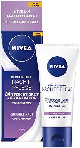 NIVEA Beruhigende Nachtpflege 24h Feuchtigkeit + Regeneration (50 ml), Gesichtscreme für sensible...