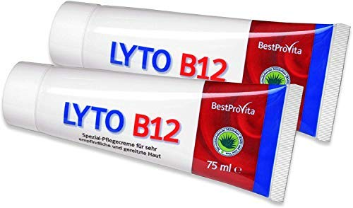 Bestprovita Lyto B12 Pflegecreme 2x 75ml, bei Neurodermitis Juckreiz Schuppenflechte, Creme mit...