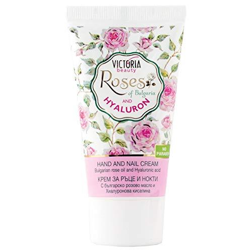 Victoria Beauty - Handcreme und Nagelcreme mit Rosenöl und Hyaluronsäure für sehr trockene und...