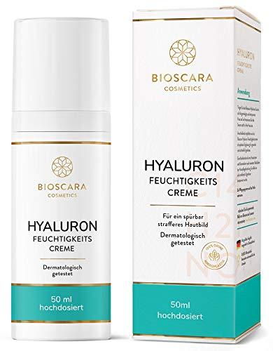 Bioscara Hyaluron Creme Gesicht 50ml hochdosiert I Anti Aging Tagescreme & Nachtcreme mit...