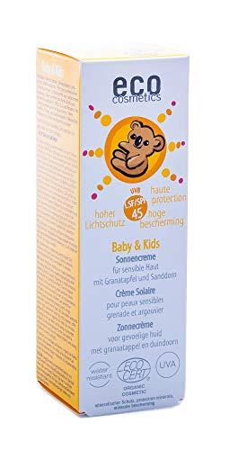 eco cosmetics Baby Sonnencreme LSF45, wasserfest, vegan, ohne Mikroplastik, Naturkosmetik für...