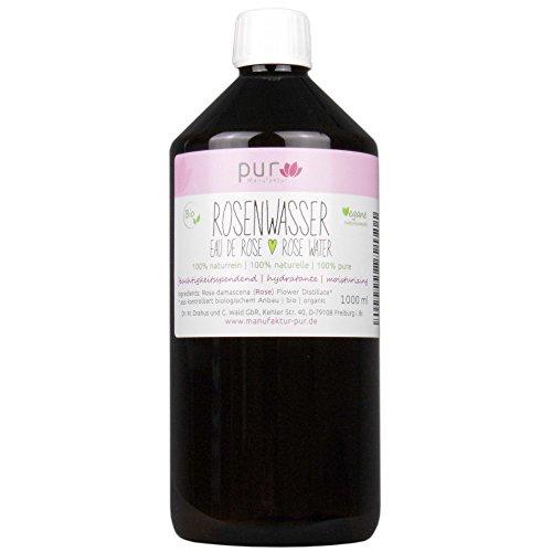 1000 ml Echtes Rosenwasser Bio Organic Rose Water 100% naturreines Rosen-Hydrolat pur Manufaktur