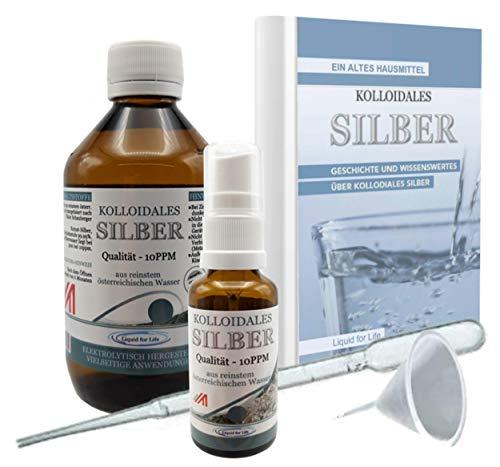 LIQUID FOR LIFE® Kolloidales Silber 10PPM - 250ML Silberwasser - inklusive 30ml Sprühflasche und...