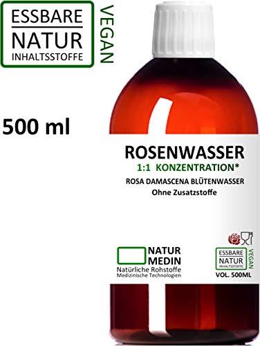 ROSENWASSER 500-ml Gesichtswasser, 100% naturrein, 1:1 Konzentration, Rosa damascena Blüttenwasser,...