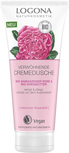 LOGONA Naturkosmetik Verwöhnende Duschcreme Bio-Damaszner Rose & Bio-Sheabutter, Natürliche sanfte...