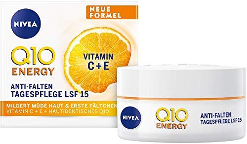 NIVEA Q10 ENERGY Anti-Falten Tagespflege LSF 15 (50 ml), Gesichtscreme mit 100% hautidentischem Q10,...