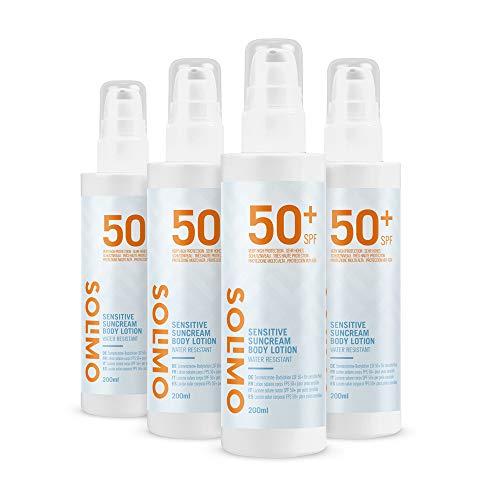 Amazon-Marke: Solimo -  SUN  – Sonnencreme-Bodylotion LSF50+ für sensible Haut, mit Vitamin E,...