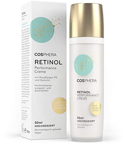 Cosphera - Retinol Performance Creme 50 ml - mit Hyaluronsäure - vegane Tages- und Nachtcreme...