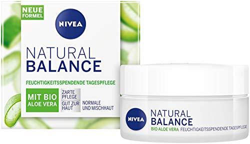 NIVEA Natural Balance feuchtigkeitsspendende Tagespflege (50 ml), Feuchtigkeitscreme mit Bio Aloe...
