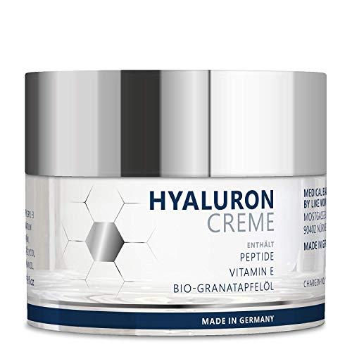 Anti-Aging Hyaluron Creme 50 ml – Vegane Gesichtscreme mit Bio-Granatapfelkern-Öl, quervernetzter...