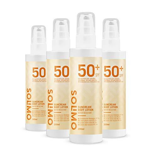 Amazon-Marke: Solimo -  SUN - Sonnencreme-Bodylotion LSF 50+, mit Vitamin E, Antioxidant (4x200 ml)
