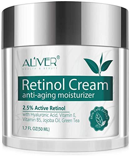 Retinol Feuchtigkeitscreme für Gesicht, Hals und Dekolleté mit 2,5% Retinol und Hyaluronsäure -...