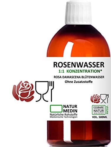 ROSENWASSER 500-ml, LEBENSMITTEL-QUALITÄT, 100% naturrein, 1:1 Konzentration, Rosa damascena...