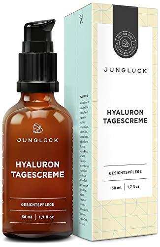 Junglück Hyaluron Creme I 50 ml Anti-Aging Feuchtigkeitscreme für Gesicht & Haut I Pflegende...