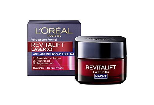 L'Oréal Paris Revitalift Laser X3 Nachtcreme mit Hyaluronsäure, Hyaluron Anti-Age Gesichtscreme,...