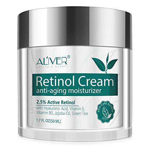 Anti-Aging Retinol Creme für Gesicht, Hals und Dekolleté - mit Hyaluronsäure, Aktivem Retinol...