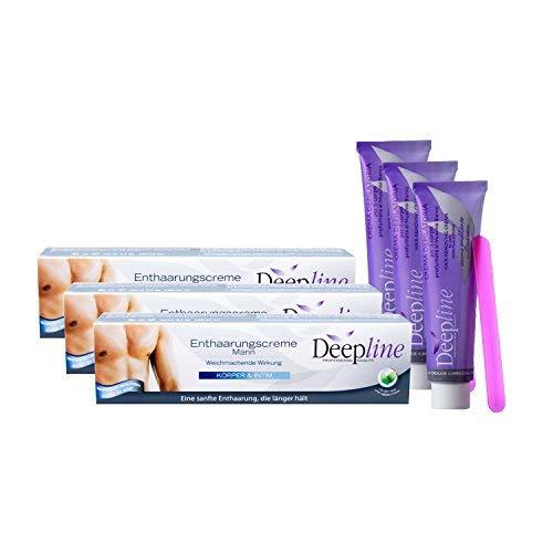 3 X Deepline Enthaarungscreme Mann | Einfache Haarentfernung Brust/Intimbereich/Beine/Arme/Achseln...