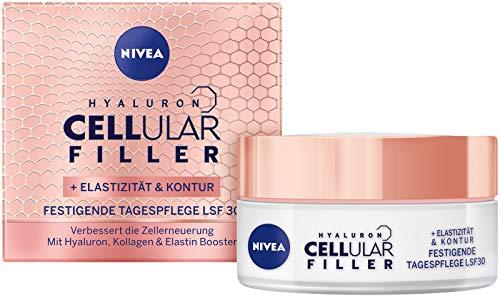 NIVEA Hyaluron Cellular + Elastizität und Kontur Tagespflege, Anti Falten Tagescreme mit LSF 30,...
