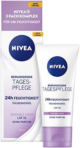 NIVEA Beruhigende Tagespflege 24h Feuchtigkeit (50 ml), Gesichtscreme für sensible Haut, Tagescreme...