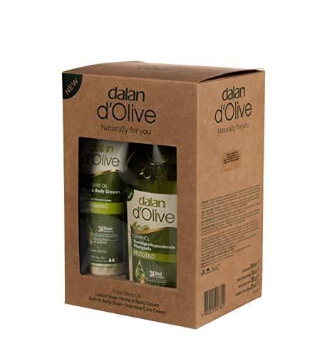 Dalan d'Olive 4er Pflege Set Karton Bodycreme 75ml, Flüssigseife pflegend 300ml, Olivenseife 200g...