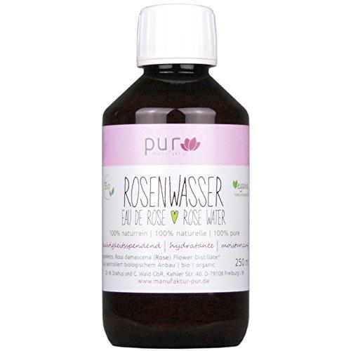 250 ml Echtes Rosenwasser Bio Organic Rose Water 100% naturreines Rosen-Hydrolat (in PET-Flasche mit...