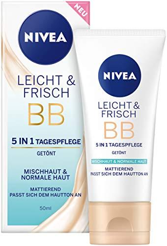 NIVEA Leicht & Frisch BB 5 in 1 Tagespflege 24h Feuchtigkeit (50 ml), BB Cream für Mischhaut und...