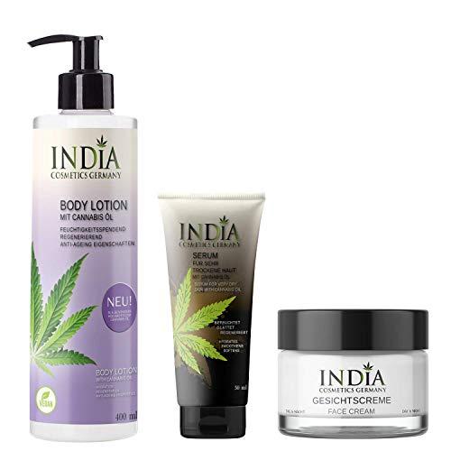 INDIAs BodycareSet mit Bio Cannabis-Öl. Premiumqualität. Bodylotion ohne Parabene, Gesichtscreme,...