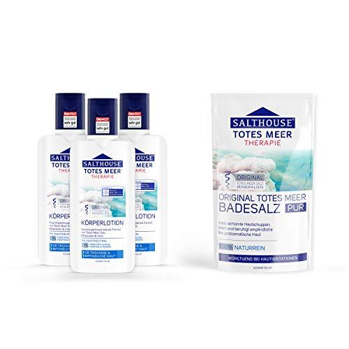 SALTHOUSE® Totes Meer Therapie Körperlotion Vorteilspack 3x 250 ml + 500 g SALTHOUSE® Original...