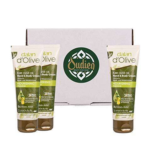 OUDIEN 3er Set dalan d'Olive Handcreme 75ml, Creme für Hände und Körper, natürliche Hautpflege...