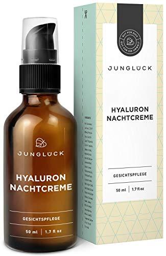 Junglck Nachtcreme mit Hyaluron & Arganl auf bio Aloe Vera Basis | 50 ml im Braunglas | vegane...