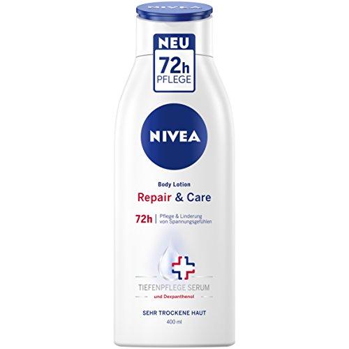 NIVEA Repair & Care Body Lotion im 3er Pack (3 x 400 ml), Körpercreme für 72h Pflege & Linderung...