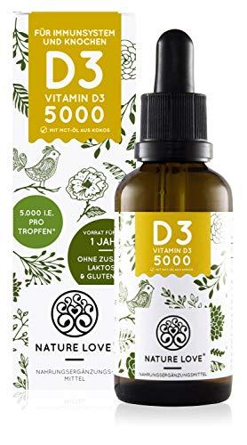 NATURE LOVE® Vitamin D3 - Mehrfacher Sieger 2020* - Laborgeprüfte 5000 I.E. pro Tropfen - Premium:...