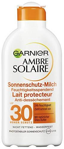 Garnier Ambre Solaire Sonnenschutz-Milch, LSF 30, feuchtigkeitsspendende Sonnencreme mit Shea Butter...