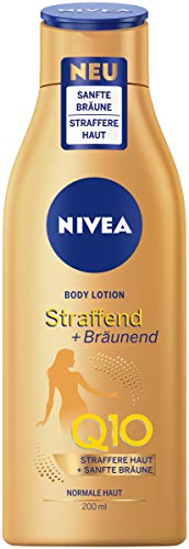 NIVEA Body Lotion Straffend + Bräunend Q10 (200 ml), Pflege für eine sanfte Bräune mit frischem...