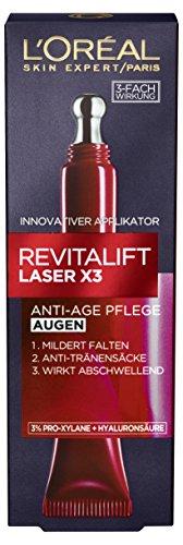 L'Oréal Paris Revitalift Laser X3 Augenpflege mit Hyaluronsäure, Hyaluron Anti-Age Augencreme,...