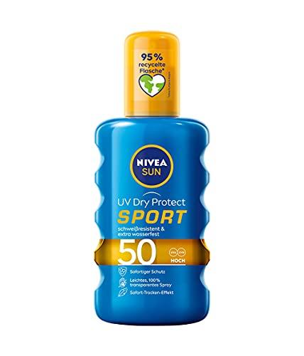 NIVEA SUN UV Dry Protect Sport Sonnenspray LSF 50 (200 ml), 100% transparenter Sonnenschutz,...