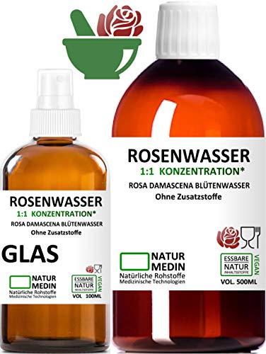 ROSENWASSER 500 + 100-ml SPRAY GLAS, AYURVEDA, Körper- und Gesichts-wasser, 100% naturrein, 1:1...